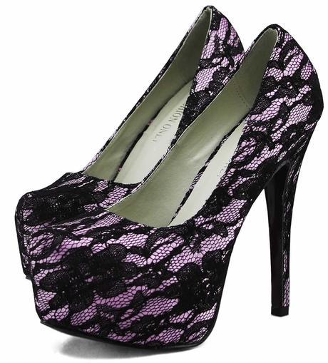 NOVINKA - růžovo-černé krajkové lodičky, kabelka, 36