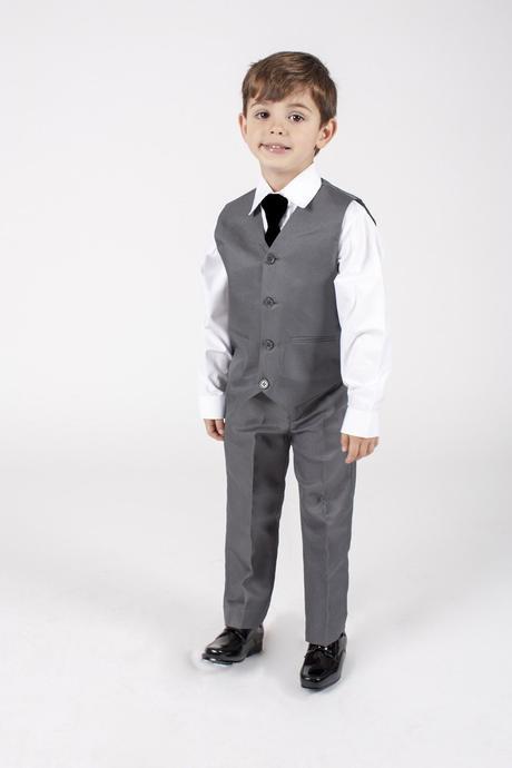 NOVINKA - šedý oblek k zapůjčení, 3m-9 let, 116