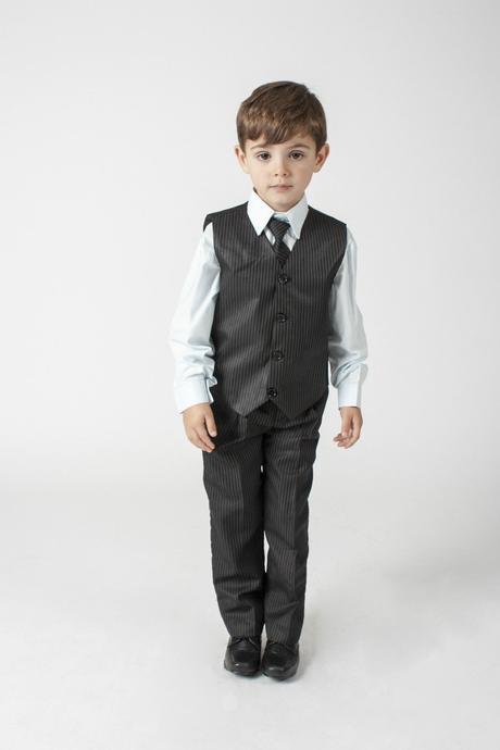 NOVINKA - šedý oblek k zapůjčení, 3m-9 let, 128