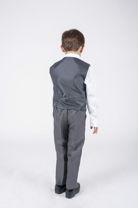NOVINKA - šedý oblek k zapůjčení, 3m-9 let, 134
