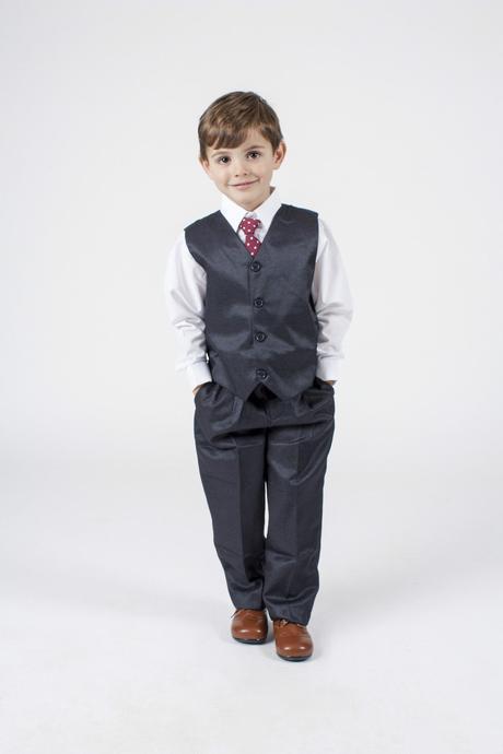 NOVINKA - šedý oblek k zapůjčení, 3m-9 let, 92