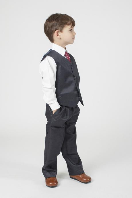 NOVINKA - šedý oblek k zapůjčení, 3m-9 let, 98