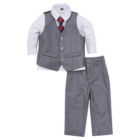 NOVINKA - šedý oblek, půjčovné, 0-8 let, 128