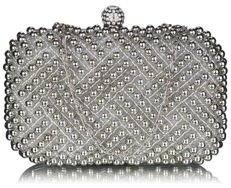 NOVINKA - stříbrná perličková kabelka,