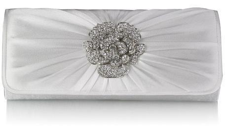 NOVINKA - stříbrná společenská, svatební kabelka,