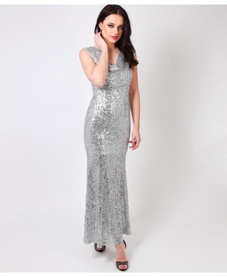 NOVINKA - stříbrné společenské šaty, flitrované, 36