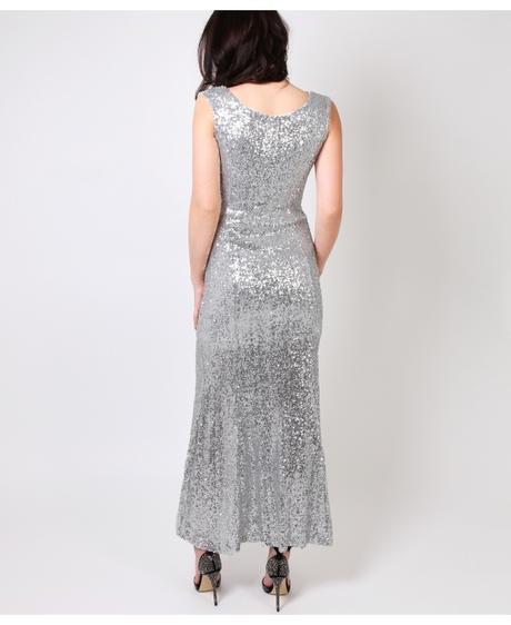NOVINKA - stříbrné společenské šaty, flitrované, 38