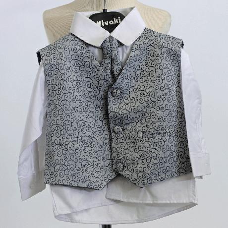 NOVINKA - stříbrný, šedý společenský oblek 0-8 let, 68