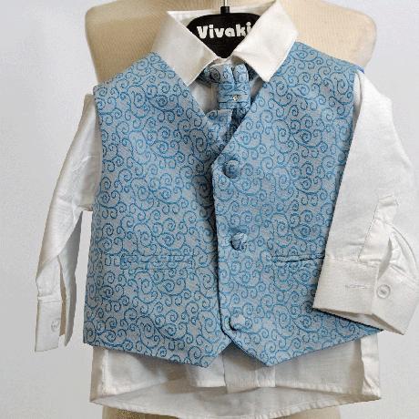 NOVINKA - stříbrný, šedý společenský oblek 0-8 let, 98