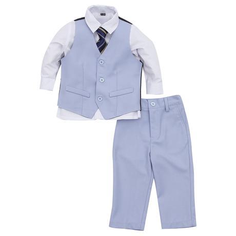 NOVINKA - světle modrý oblek, půjčovné, 0-8 let, 128
