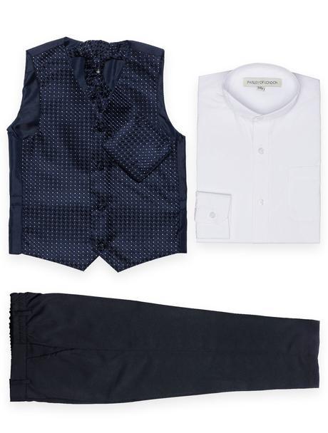 NOVINKA - světle modrý oblek + šedé, černé kalhoty, 74