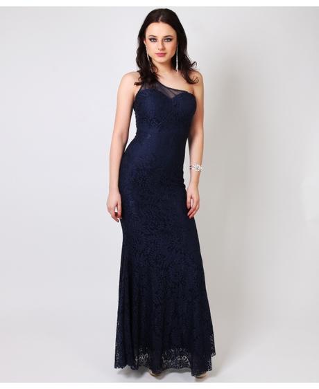NOVINKA - tmavě modré krajkové šaty, 42