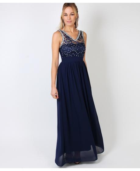 NOVINKA - tmavě modré společenské šaty, 36-42, 38