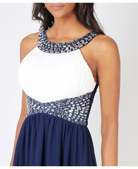 NOVINKA - tmavě modré společenské šaty, 42