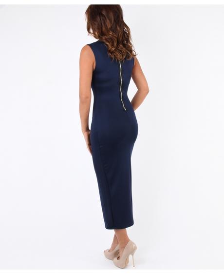 NOVINKA - tmavě modré společenské šaty, 48