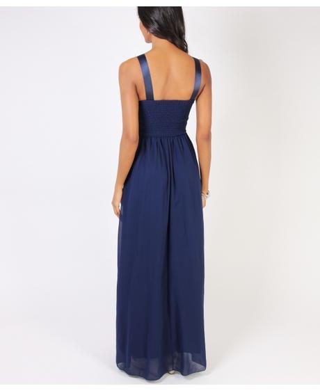 NOVINKA - tmavě modré společenské šaty, L