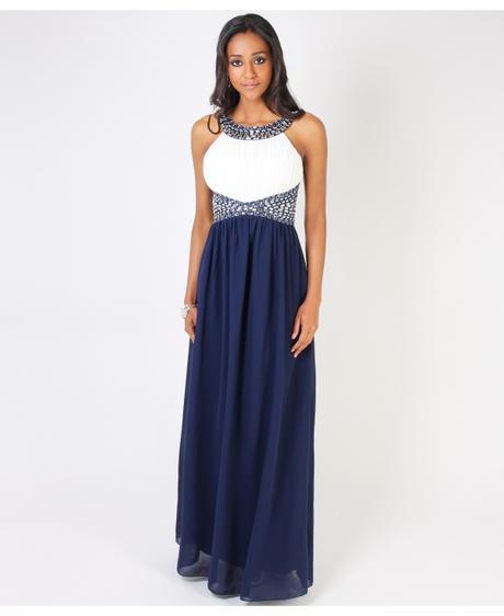 NOVINKA - tmavě modré společenské šaty, M