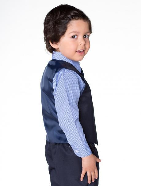 NOVINKA - tmavě modrý oblek, půjčovné, kostky, 134