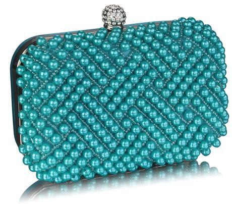 NOVINKA - tyrkysová perličková kabelka,