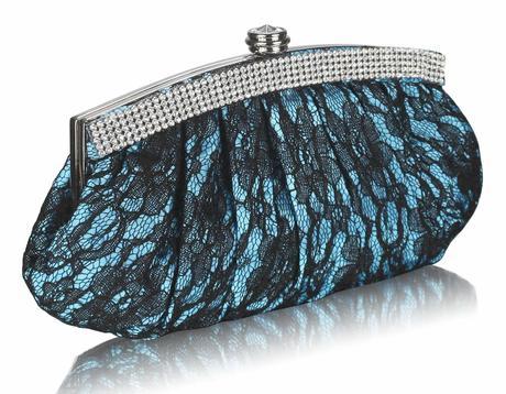 NOVINKA - tyrkysově-černé krajkové lodičky, kabelk,