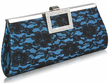 NOVINKA - tyrkysově-černé krajkové lodičky, kabelk, 40