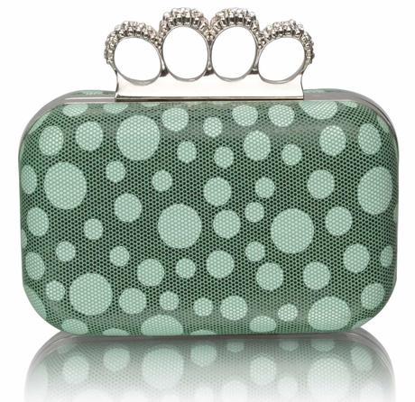 NOVINKA - zelená puntíkatá kabelka,