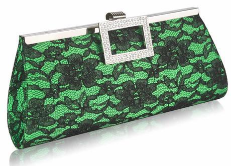 NOVINKA - zeleno-černé krajkové lodičky, kabelka, 36