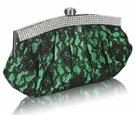 NOVINKA - zeleno-černé krajkové lodičky, kabelka, 39