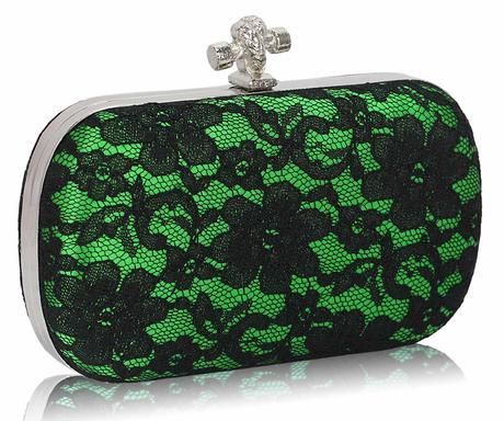 NOVINKA - zeleno-černé krajkové lodičky, kabelka, 40