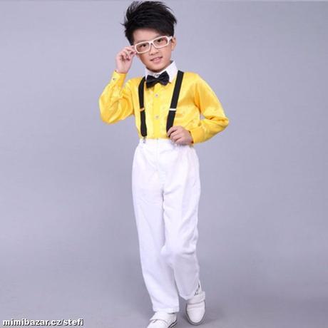 Oblek, kalhoty, motýlek, kšandy 5-7 let, 134