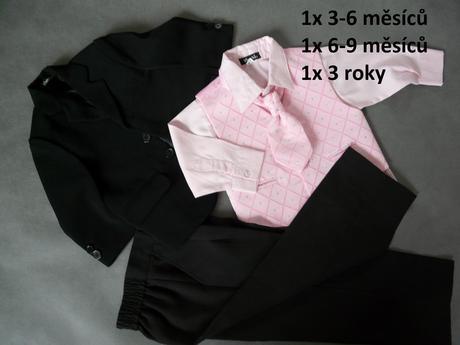 Oblek s růžovou košilí a vestou - půjčovné, 98