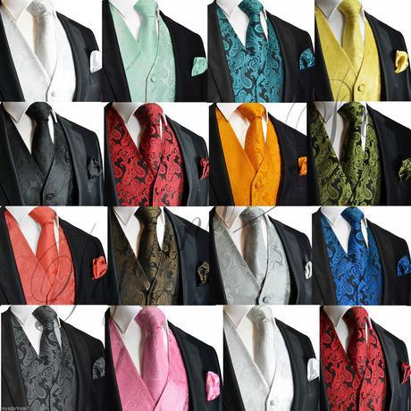 Pánský set - vesta, kravata,  kapesníček, 38