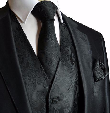 Pánský set - vesta, kravata,  kapesníček, 58