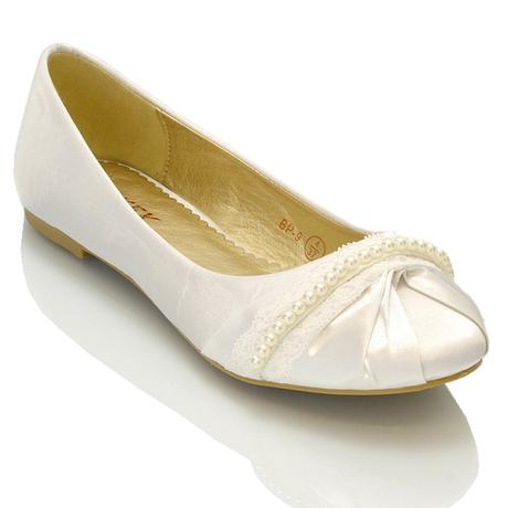 PEARLY - bílé saténové baleríny, 36-41, 36