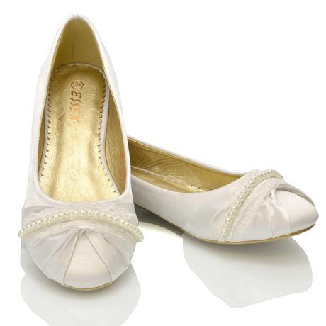 PEARLY - bílé saténové baleríny, 36-41, 39
