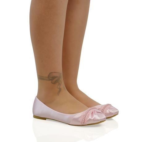 PEARLY - růžové saténové baleríny, 36-41, 36