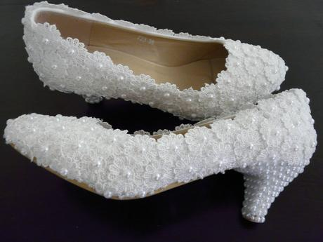 Perličkové svatební lodičky, 35-39, 35