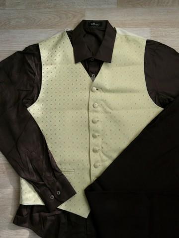 Půjčím/k prodeji hnědý, champagne oblek, M