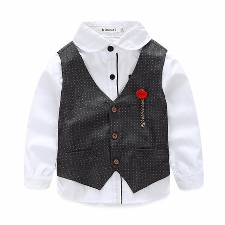 Puntíkatý společenský, svatební oblek k zapůjčení, 128