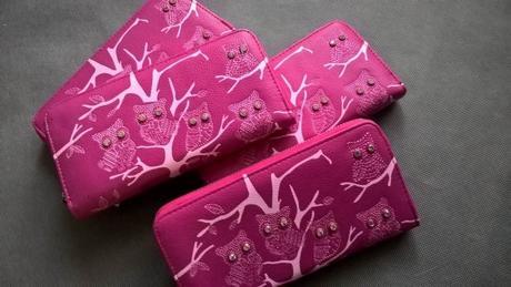 Růžová peněženka - sovy,