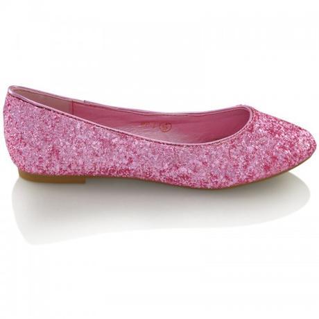 Růžové flitrované baleríny, 36-41, 37