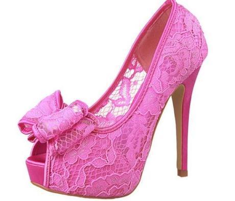 Růžové krajkové svatební, společenské lodičky, 34