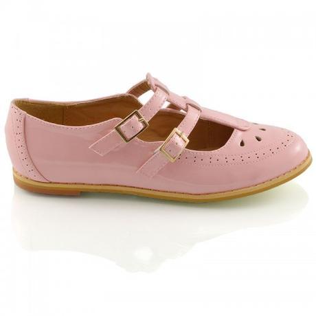 Růžové pastelové retro baleríny, lodičky, 36-41, 40