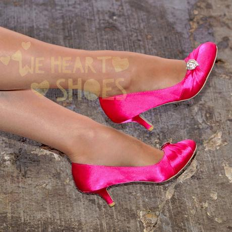 Růžové saténové lodičky, nízký podpatek, 37