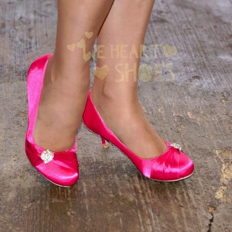 Růžové saténové lodičky, nízký podpatek, 41