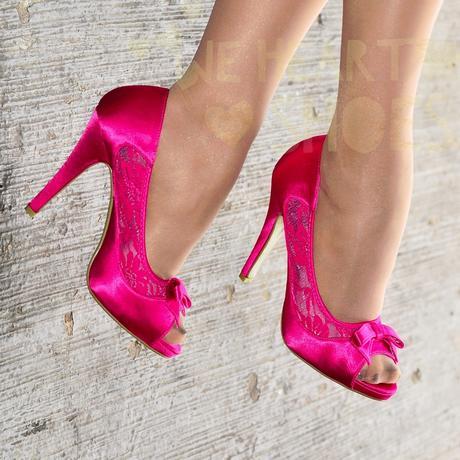 Růžové saténové svatební lodičky, vysoký podpatek, 37