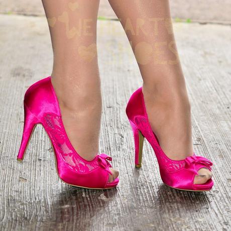 Růžové saténové svatební lodičky, vysoký podpatek, 41