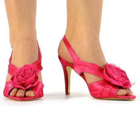 Růžové saténové svatební, společenské lodičky 36-4, 40