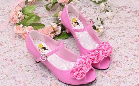 Růžové společenské boty pro družičky, 26-36, 26
