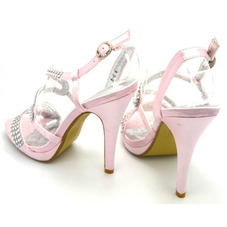 Růžové společenské, plesové sandálky, 36-41, 41